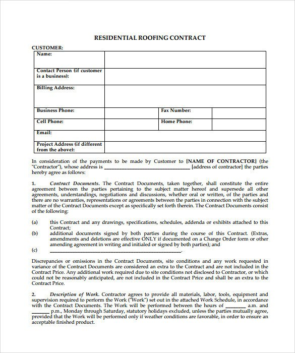 Simple Roofing Contract Template Roofing Contract Template 9 Download Documents In Pdf