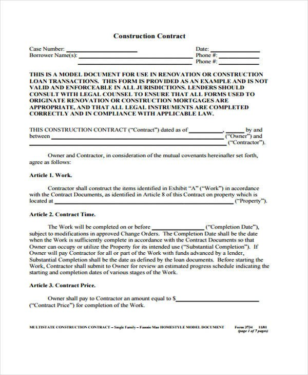 Simple Roofing Contract Template Simple Construction Contract How I Successfuly organized My