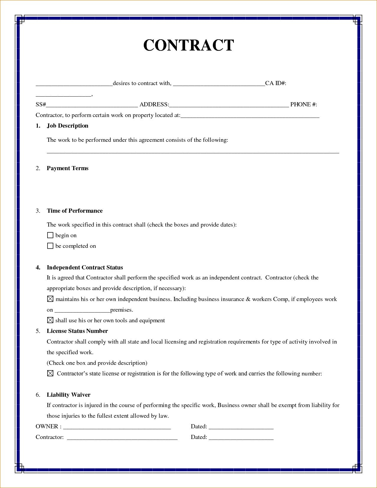 Simple Roofing Contract Template Simple Contract Agreement