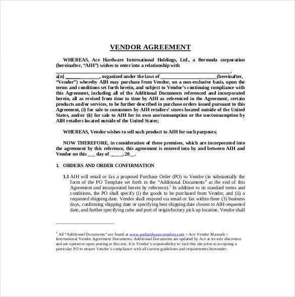 27 Sample Vendor Agreement Templates PDF DOC