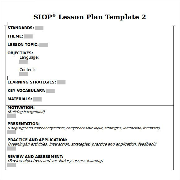 Siop Lesson Plan Template 1 8 Siop Lesson Plan Templates Download Free Documents In
