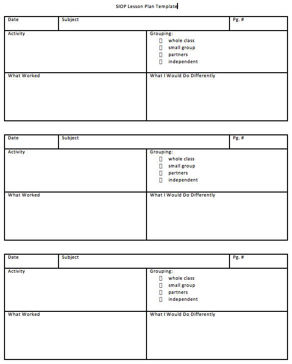 Siop Lesson Plan Template 1 Download Siop Lesson Plan Template 1 2