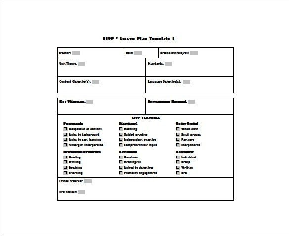 Siop Lesson Plan Template 1 Editable Lesson Plan Template Pdf – Weekly Lesson Plan