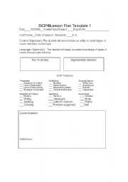 Siop Lesson Plan Template 1 English Teaching Worksheets Lesson Plans