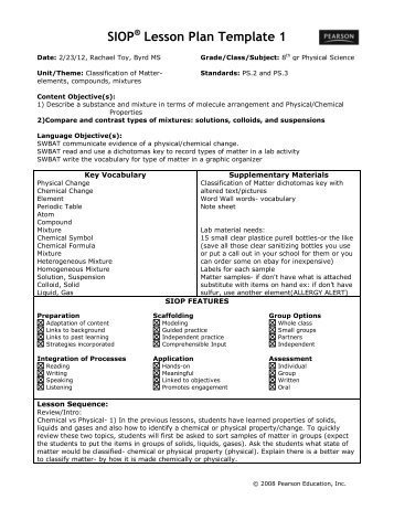 Siop Lesson Plan Template 1 Lesson Plan Earth Science astronomy Act Esl