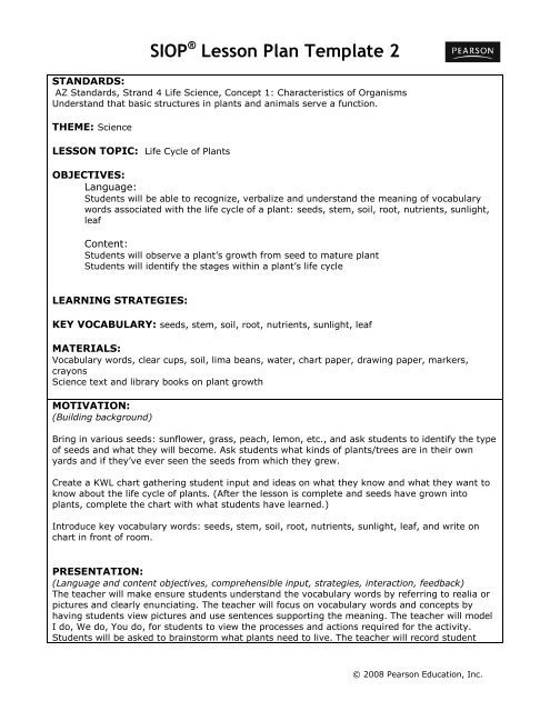 Siop Lesson Plan Template 1 Siop Lesson Plan Template 2