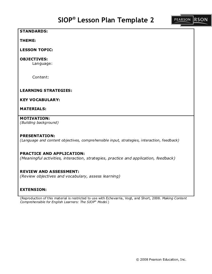 Siop Lesson Plan Template 1 Siop Lesson Plan Template2