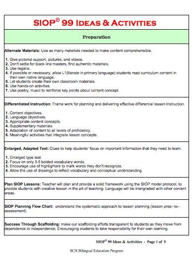 Siop Model Lesson Plan Template 12 Best Images About Siop Resources On Pinterest