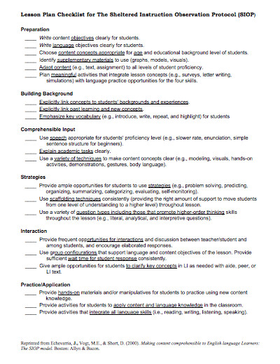 Siop Model Lesson Plan Template Here is A Helpful Siop Lesson Plan Checklist