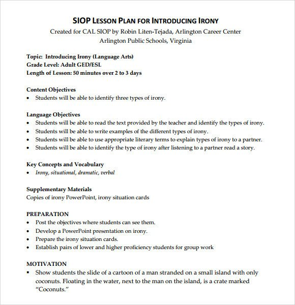 Siop Model Lesson Plan Template Sample Siop Lesson Plan 9 Documents In Pdf Word