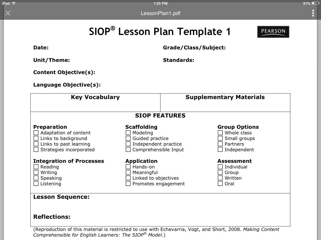 Siop Model Lesson Plan Template Siop Lesson Plan Template 1