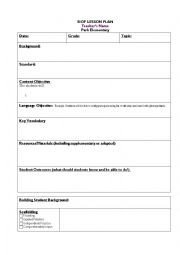 Siop Model Lesson Plan Template Siop Lesson Template Esl Worksheet by Vhedges