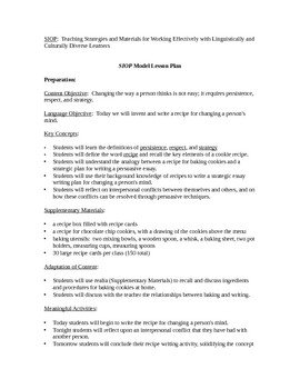 Siop Model Lesson Plan Template Siop Model Lesson Plan Recipe for Writing A Persuasive
