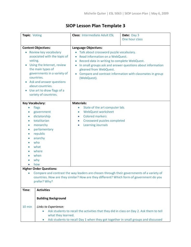 Types of Lesson Plan Templates