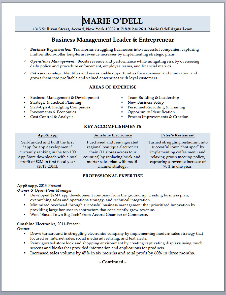 Business Owner Resume Sample & Writing Guide