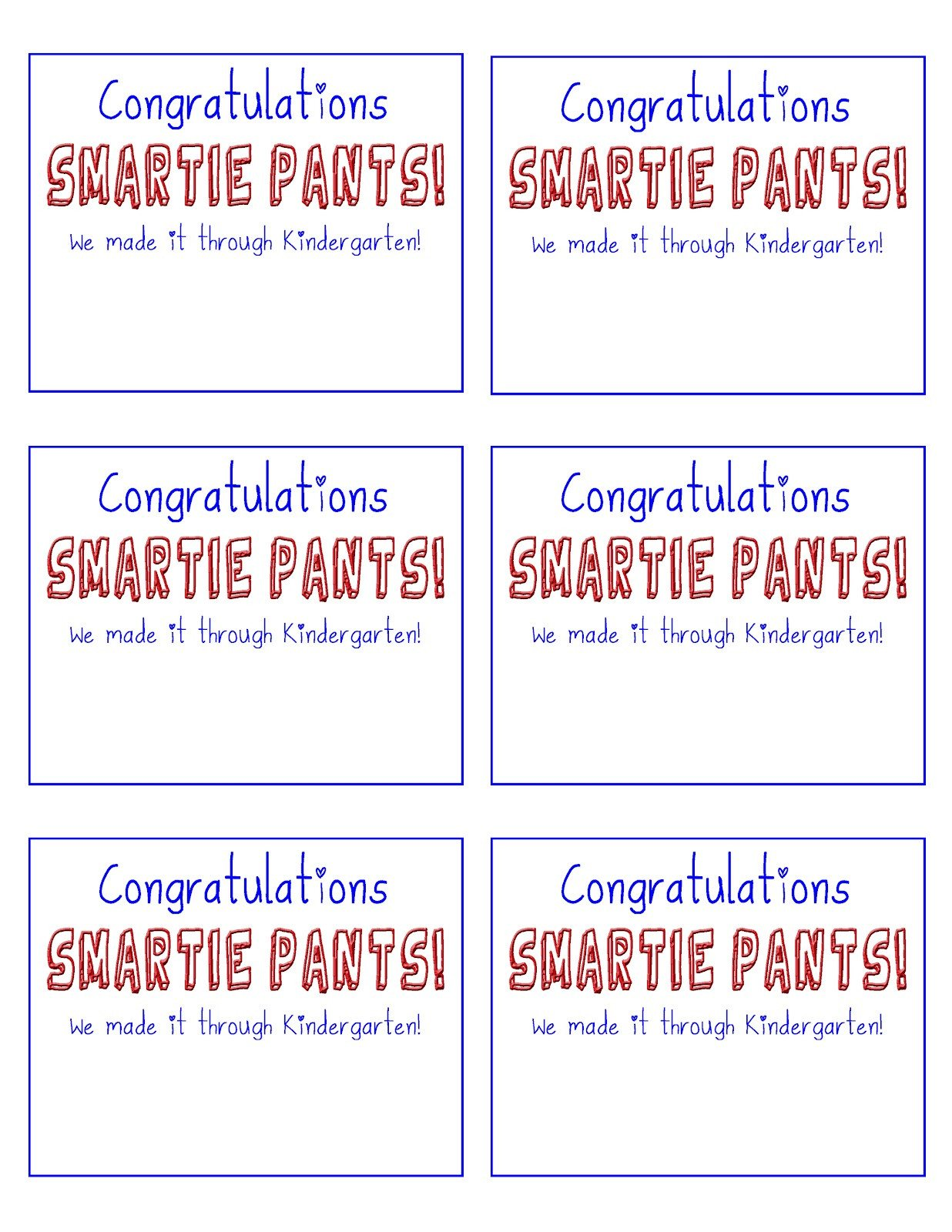 Smartie Pants Printable Template Gummy Bears and Pony Tails Gifts for Kindergarten Classmates