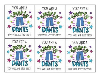 """Smartie Pants Printable Template """"smarty Pants"""" Testing Tags by Mrs Wolfe In Elementary"""