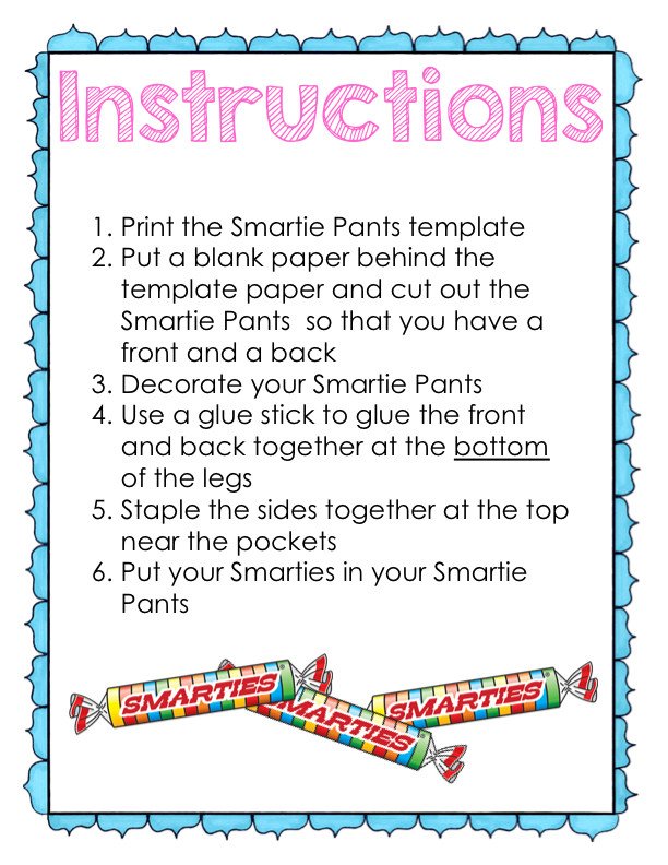 Smartie Pants Template Kearson S Classroom Fcat Buddy Testing Day 4