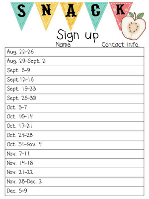Snack Sign Up Sheet Template Free Printable Spreadsheet for Snack Sign Ups