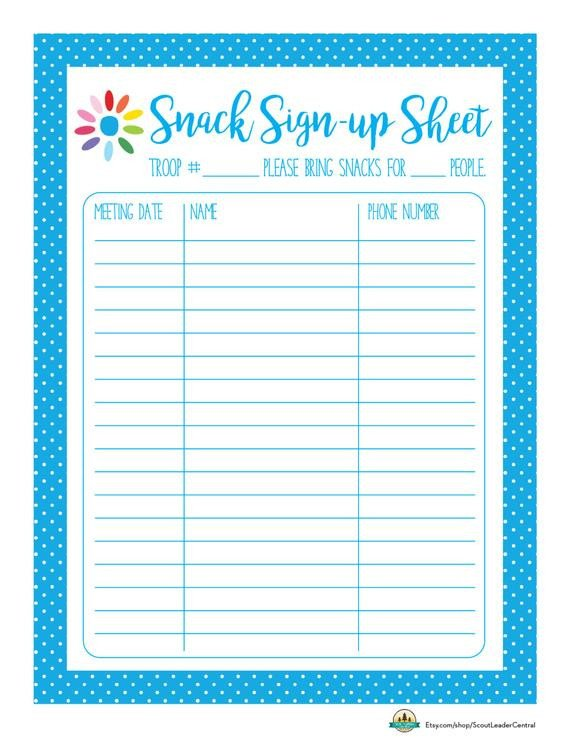 Snack Sign Up Sheet Template Instant Download Daisy Girl Scout Snack by Scoutleadercentral