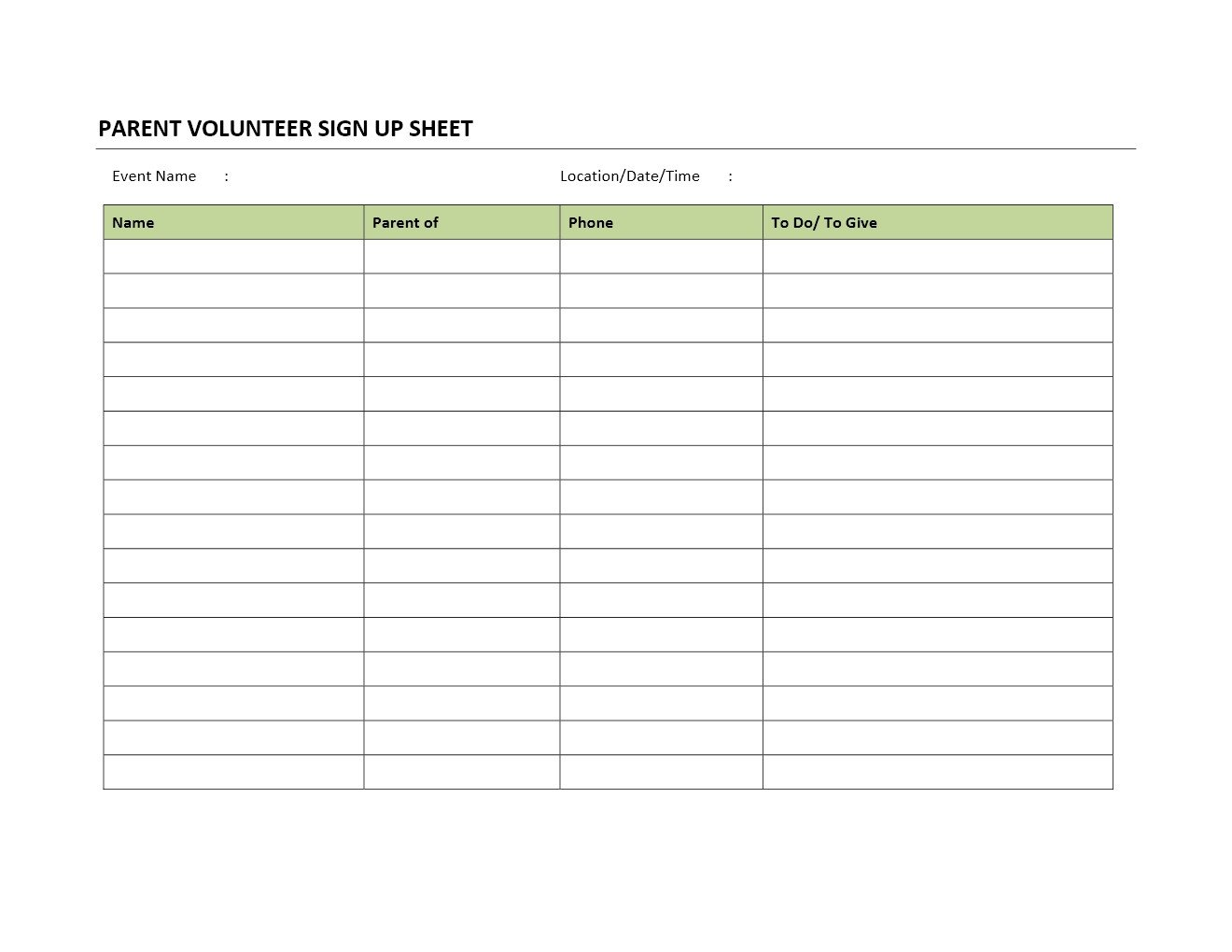 Snack Sign Up Sheet Template Parent Volunteer Sign Up Sheet