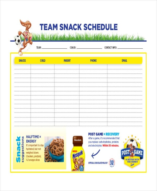 Snack Sign Up Sheet Template Snack Schedule Template 7 Free Word Excel Pdf