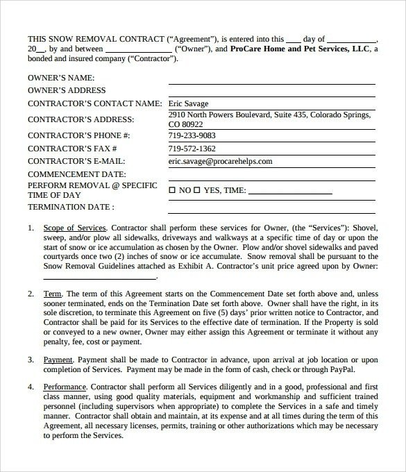 Example Snow Plow Contract Template Pdf 2205