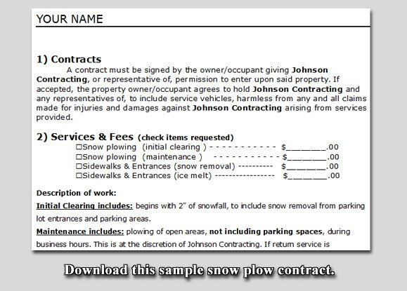 Snow Removal Contract Sample Snow Plow Contract Sample
