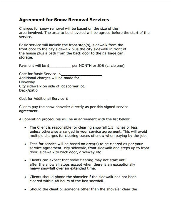 Snow Removal Contract Sample Snow Plowing Contract Template 7 Download Free