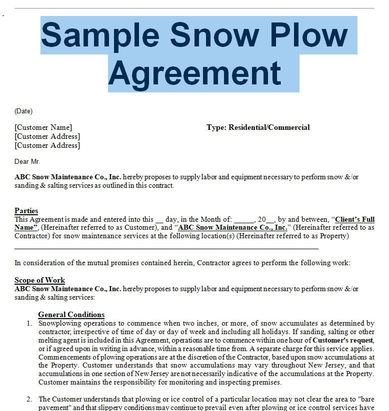 Snow Removal Contract Sample Snow Removal Agreement and Contract