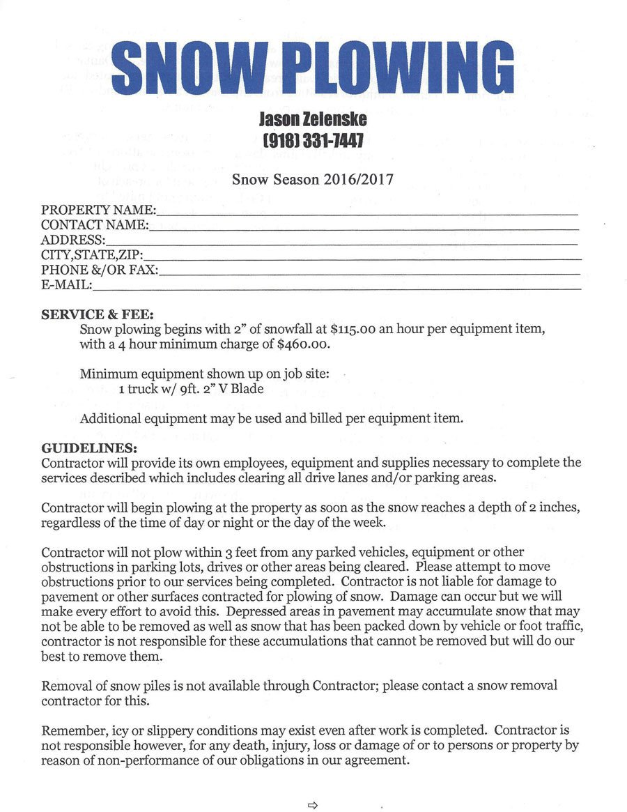 Snow Removal Contract Sample Snow Removal
