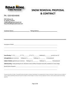 Snow Removal Contract Templates Free Snow Removal Contract Template Contracts