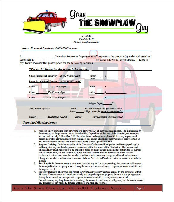 Snow Removal Contracts Templates 20 Snow Plowing Contract Templates Google Docs Pdf
