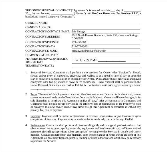 20 Snow Plowing Contract Templates Google Docs PDF