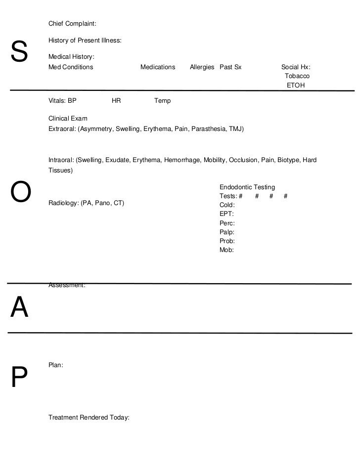 Soap Note Template Word soap Notes Dentistry Word