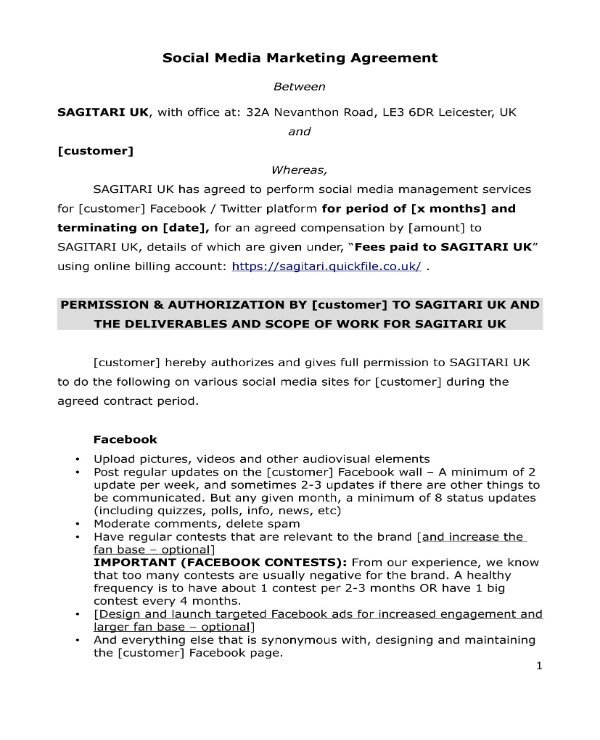 Social Media Contracts Templates 3 social Media Marketing Contract Templates Pdf Word