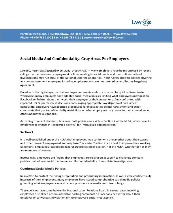Social Media Contracts Templates 7 social Media Confidentiality Agreement Templates Pdf