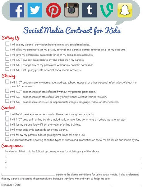 """Social Media Contracts Templates Imom Fers New """"social Media Contract for Kids"""" Printable"""