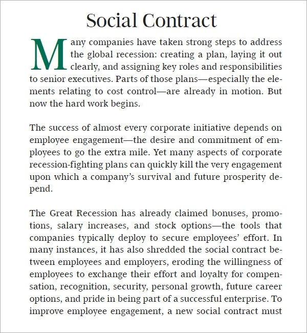 Social Media Contracts Templates social Contract 6 Free Pdf Download