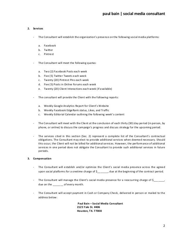 Social Media Contracts Templates social Media Consulting Services Contract