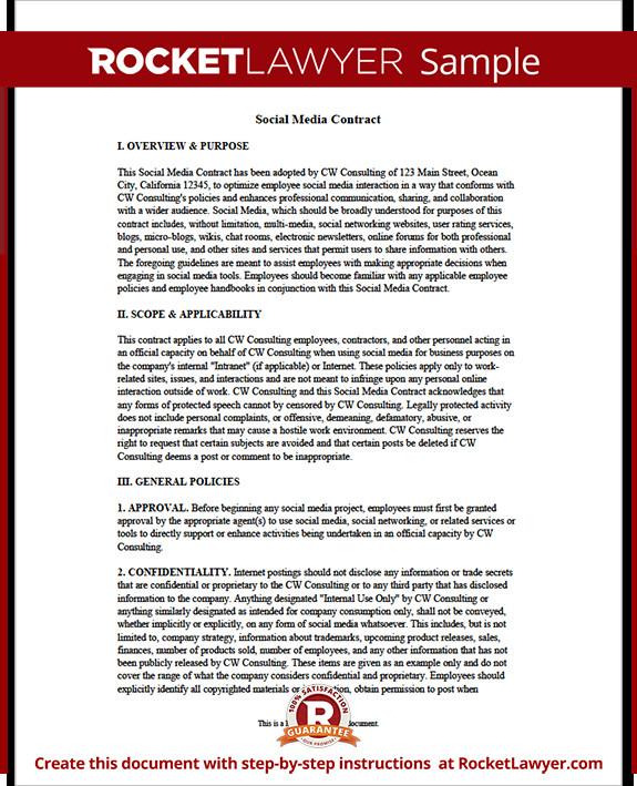 Social Media Contracts Templates social Media Contract Pany social Media Contract for
