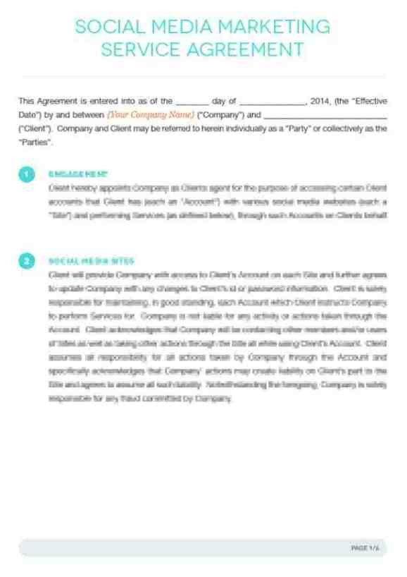 Social Media Contracts Templates social Media Contract Templates Word Excel Samples