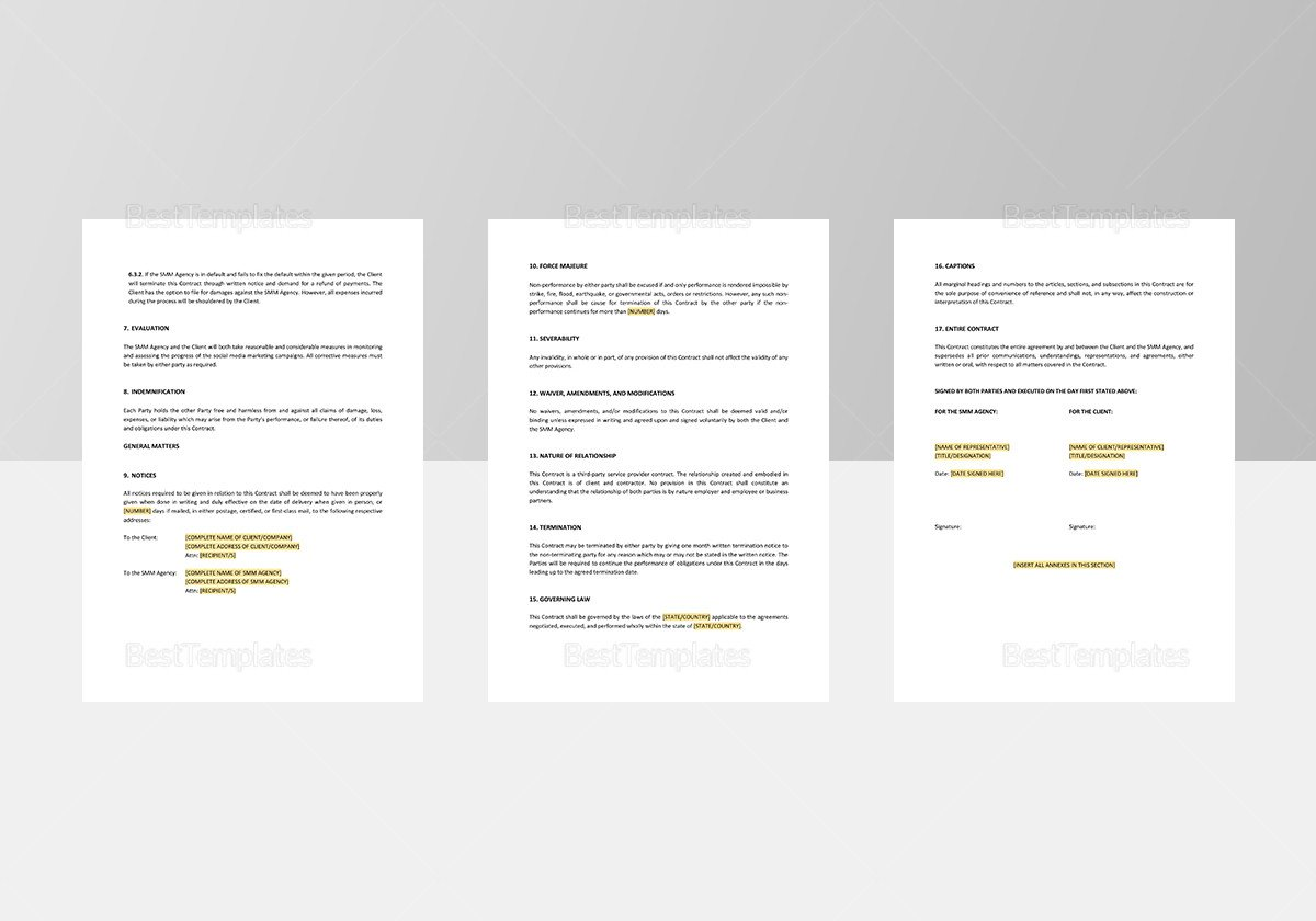 Social Media Contracts Templates social Media Marketing Contract Template In Word Apple Pages