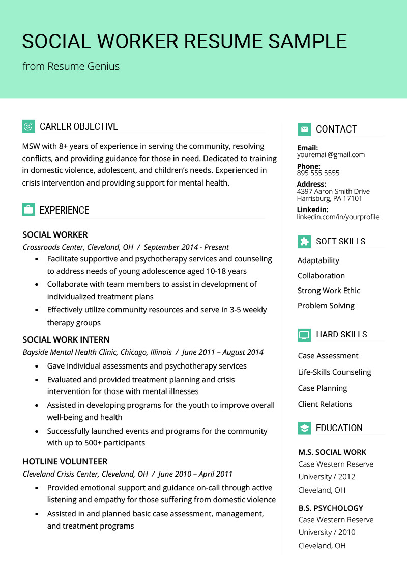 Social Work Resume Sample & Writing Guide