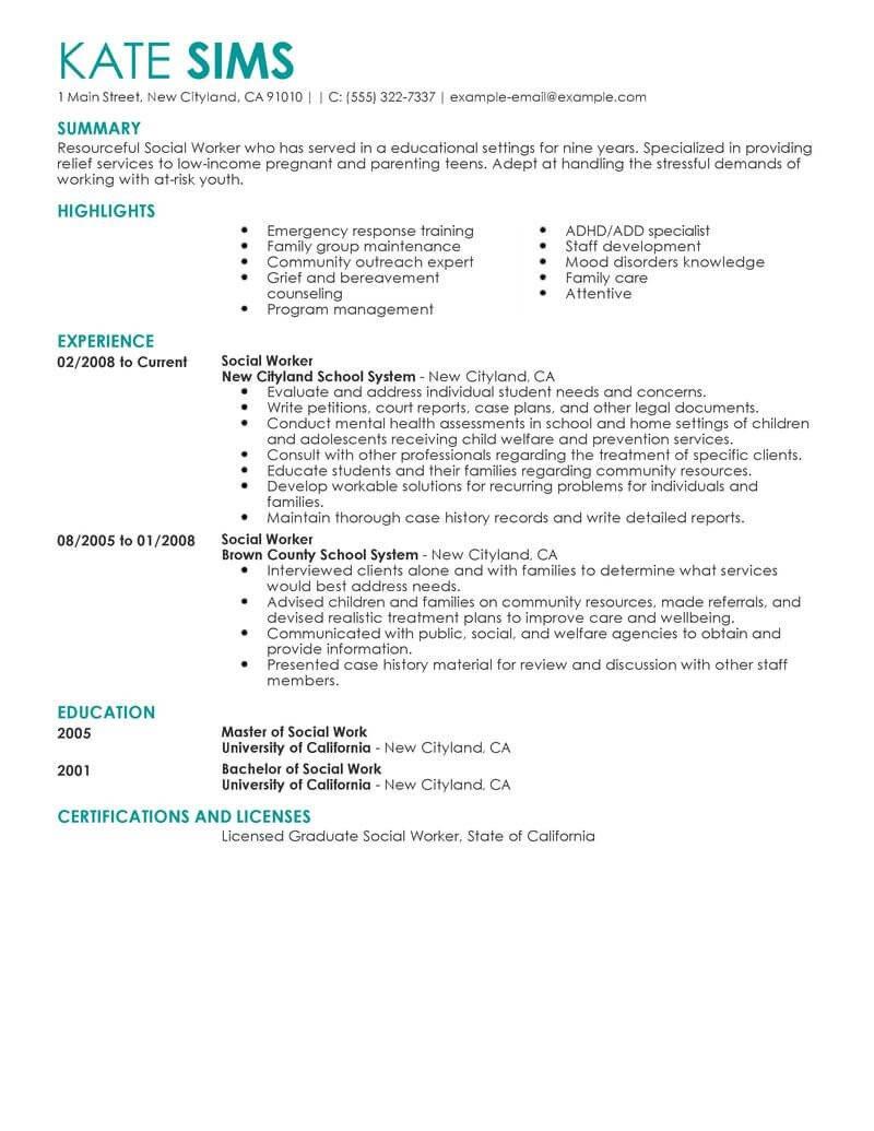 Social Worker Resume Templates Best social Worker Resume Example