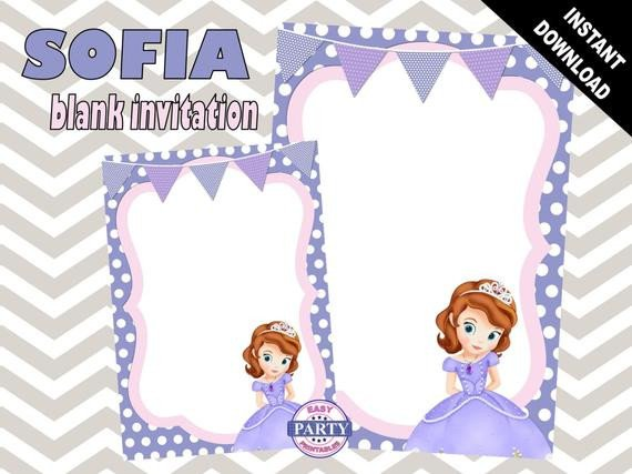 Sofia the First Blank Birthday Invitation Template purple