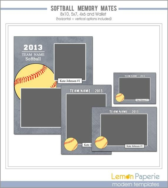 Softball Memory Mate Template softball Memory Mate Templates Sm208 Instant by Lemonpaperie