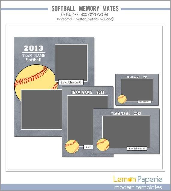 Softball Memory Mate Template softball Memory Mate Templates Sm208 Instant by Lemonpaperie