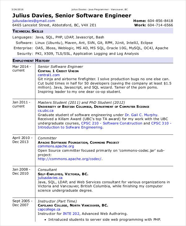 Software Engineering Resume Template software Engineer Resume Example 10 Free Word Pdf