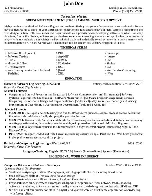 Software Engineering Resume Template software Engineer Resume Sample & Template